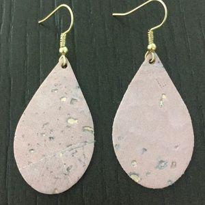 Fabric Pink Cork Teardrop Earrings Gold Ear Wire